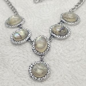 Oval Glass Stone Silver Y Drop Chain Necklace